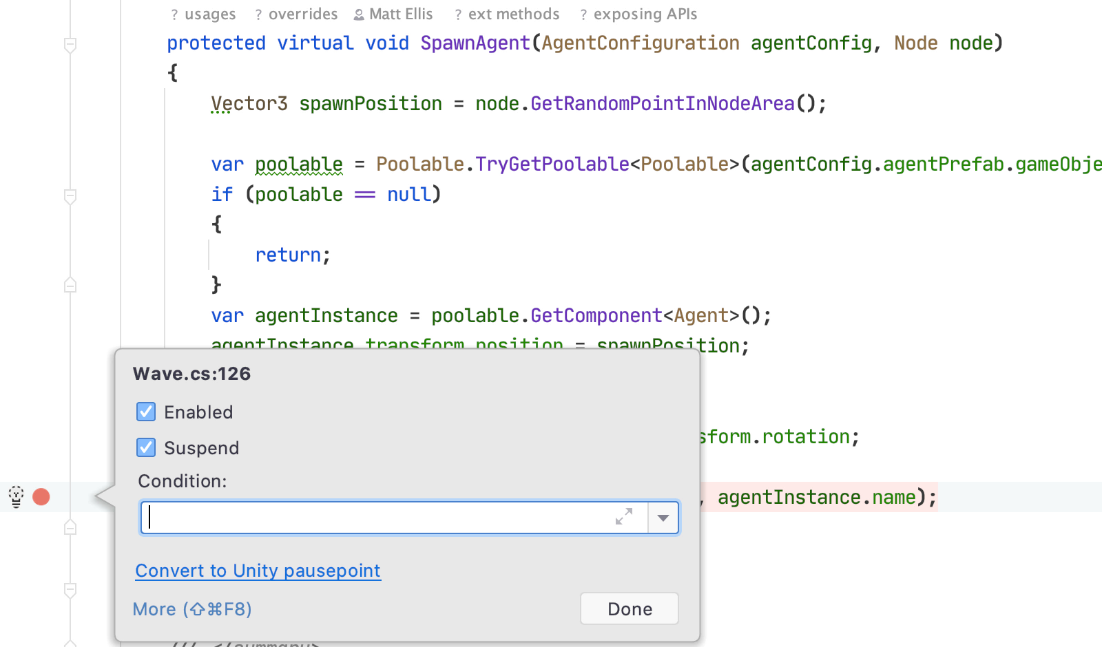Convert to Unity pausepoint