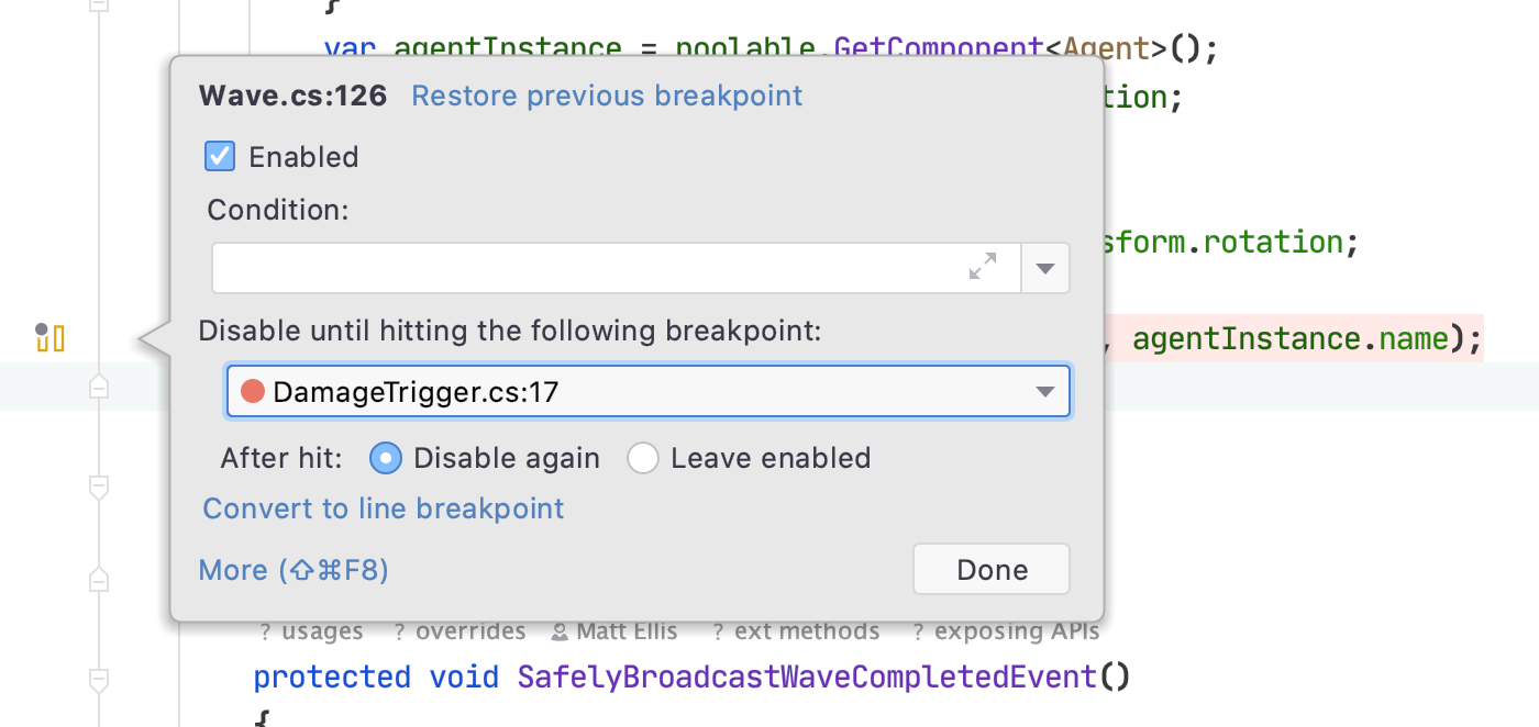 Viewing the configuration for a pausepoint with a dependency on another breakpoint