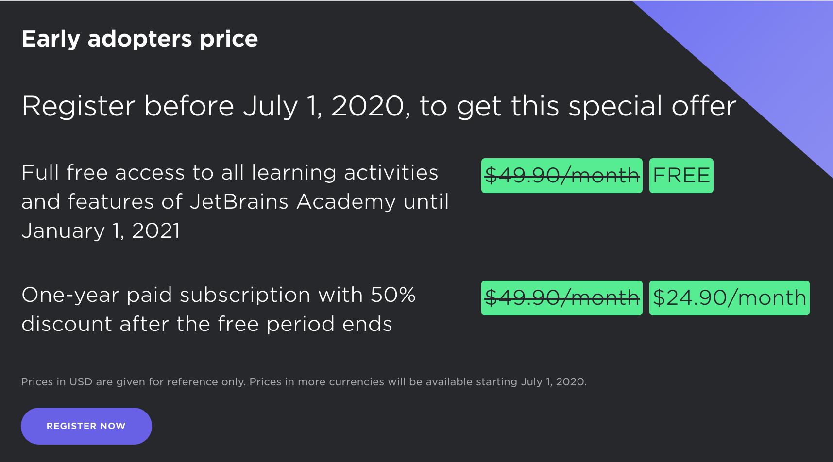 Modèle d'abonnement à JetBrains Academy