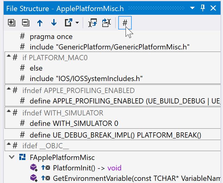 File Structure: hide preprocessor directives