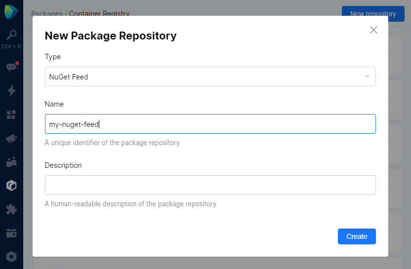Space Packages. Create NuGet feed