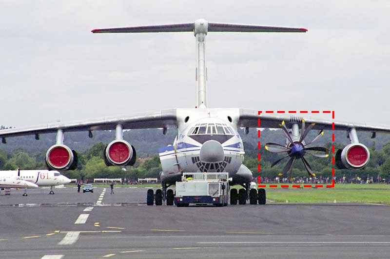 An IL-76 with 3 Jet Engine and 1 Fan engine