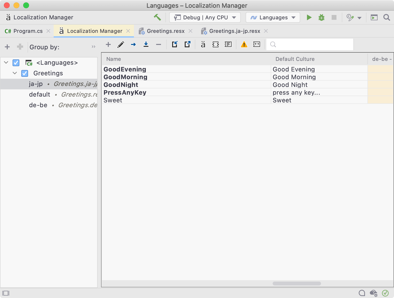 Localization Manager View