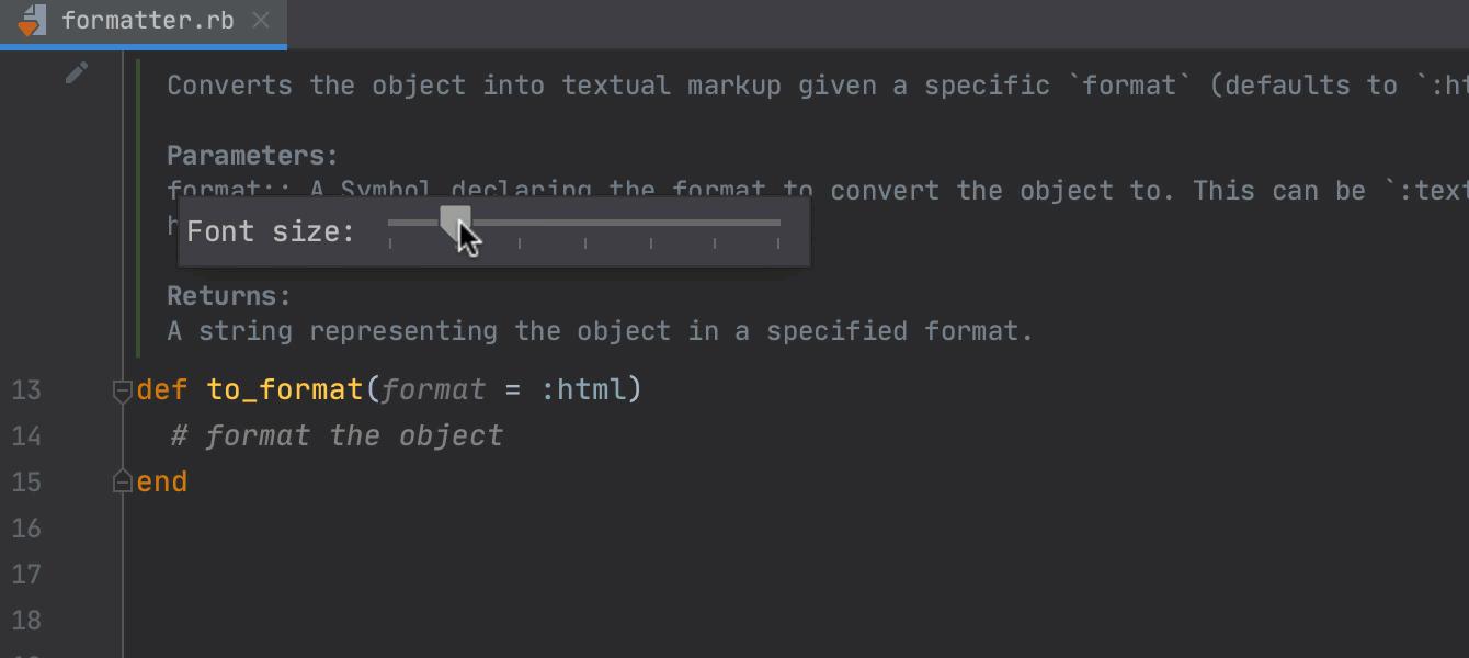 Adjusting the font size