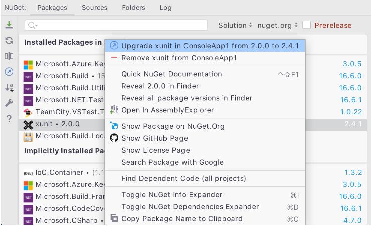 NuGet Package Context Menu