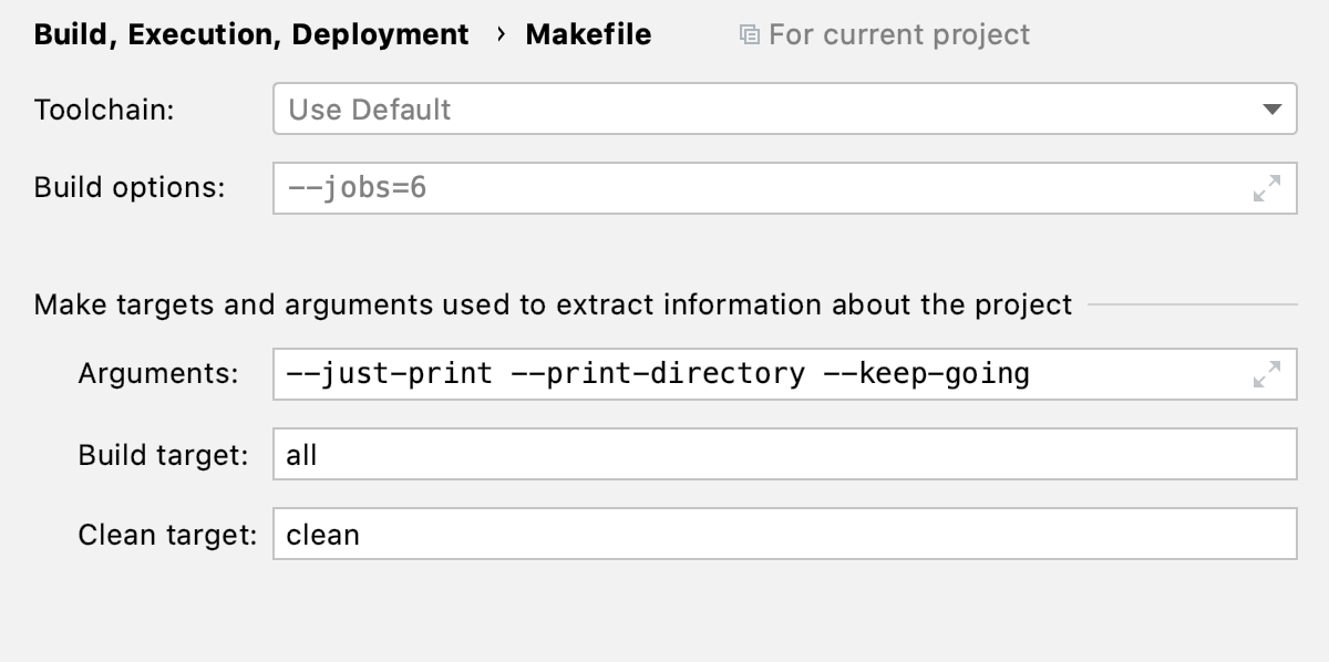 Makefile load settings