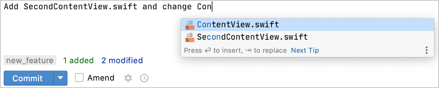 Commit completion