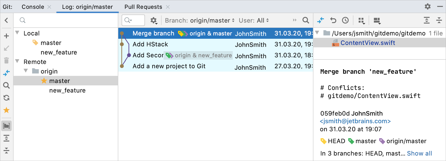 Commits view