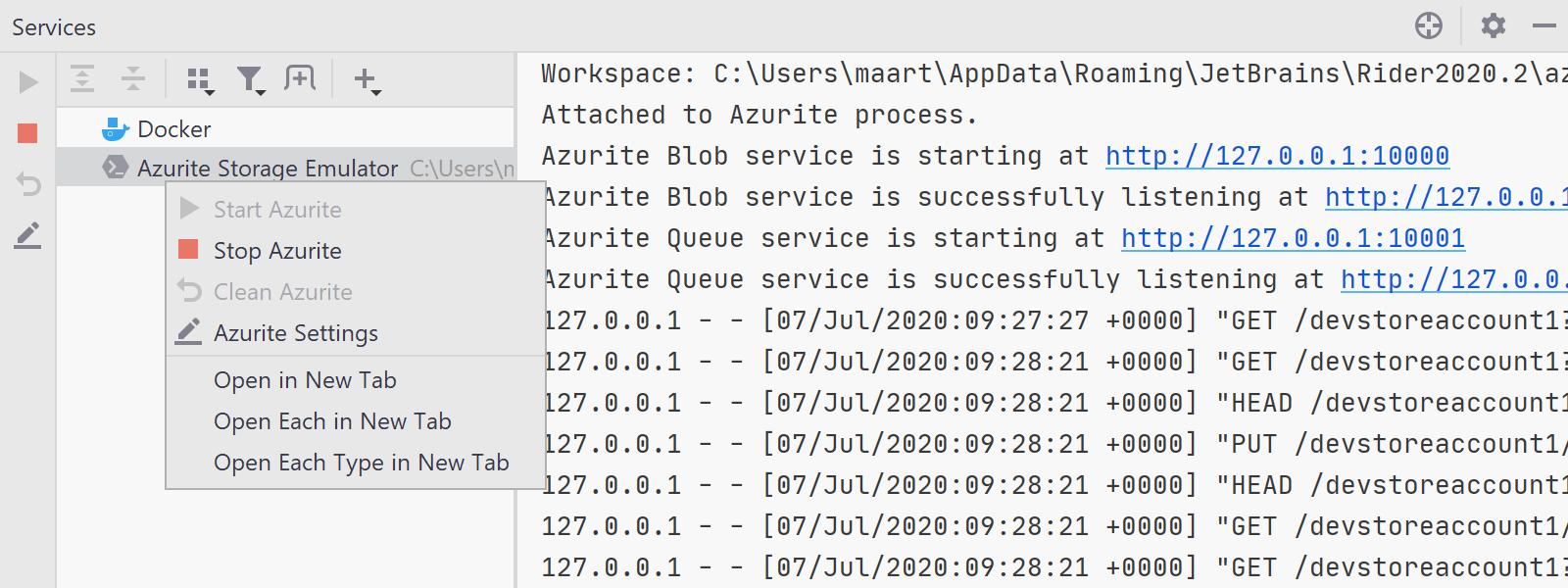 Azurite Storage Emulator in Rider Services Tool Window