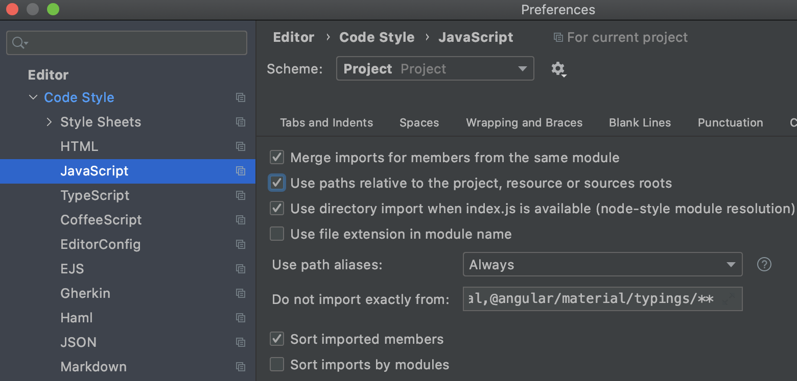 Configuration for imports in the JavaScript code style preferences