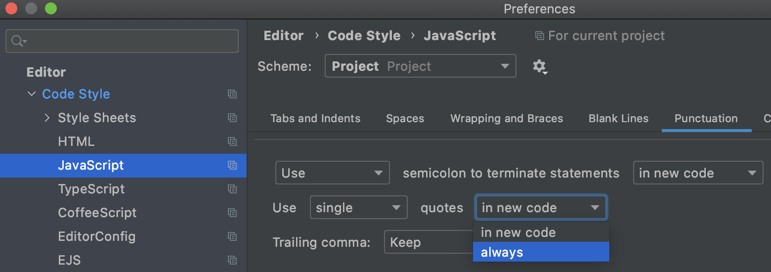 Quotes configuration in the JavaScript code style settings
