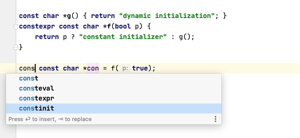Completion for C++20 keywords