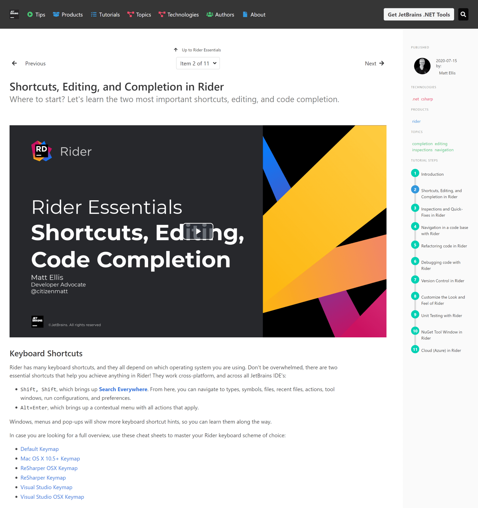 Tutorial: Shortcuts, Editing, and Completion in Rider