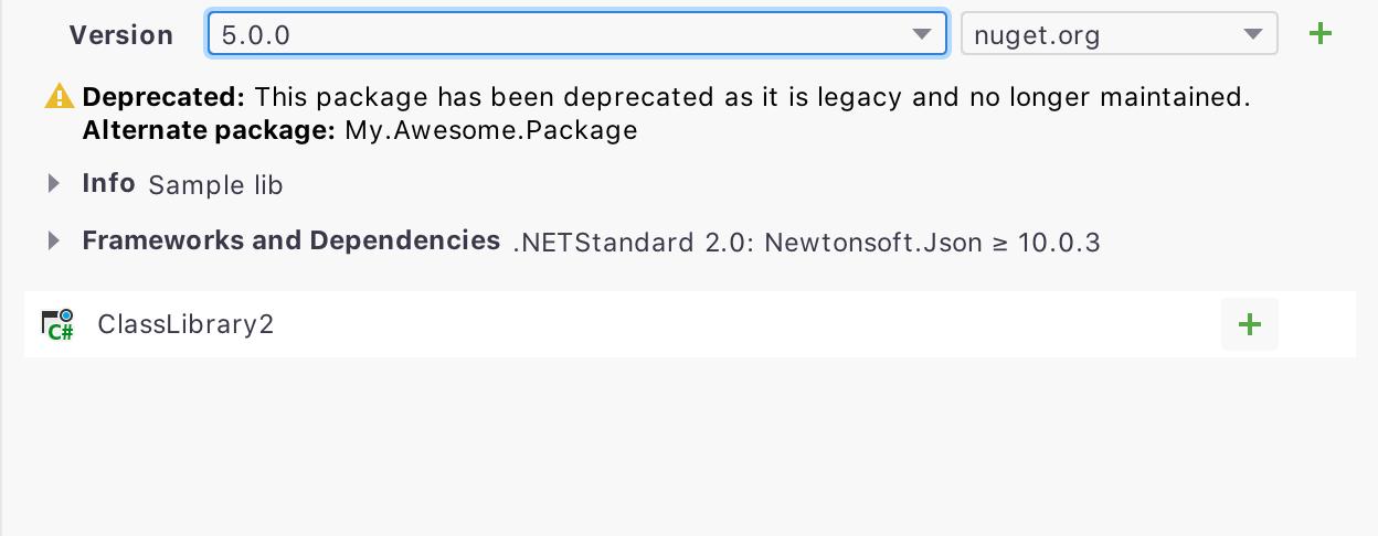 Deprecation Message for NuGet Packages