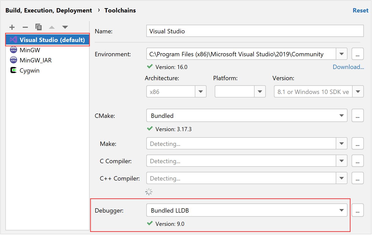 Visual Studio toolchain in CLion