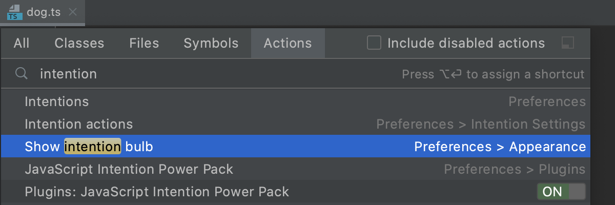 Find an action that toggles WebStorm settings and open the corresponding page in the Settings/Preferences dialog.