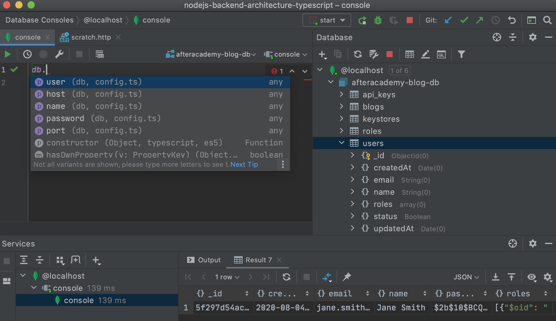 Datenbankfunktionen in WebStorm