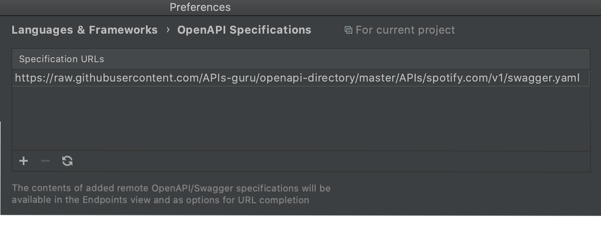 Add a new remote OpenAPI spec to the project