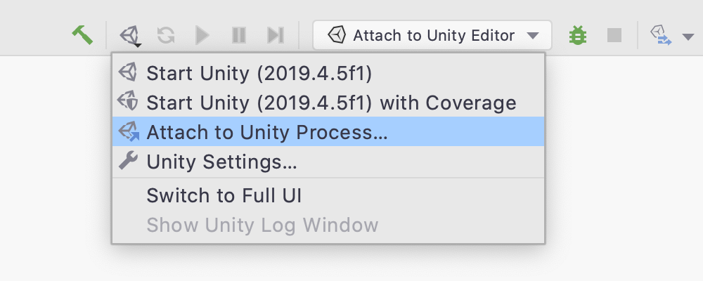The Unity logo menu in the main toolbar will open the Attach to Unity Process dialog