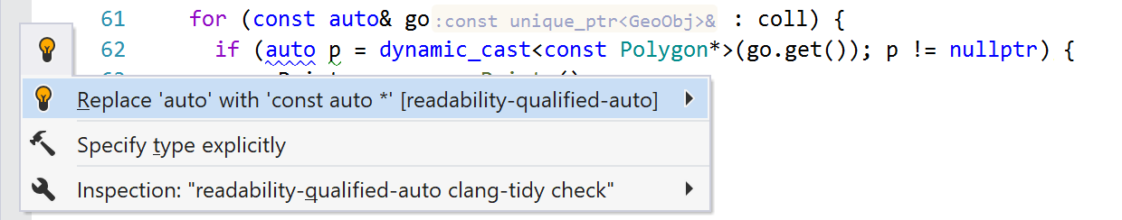 Preview of a Clang-Tidy quick-fix