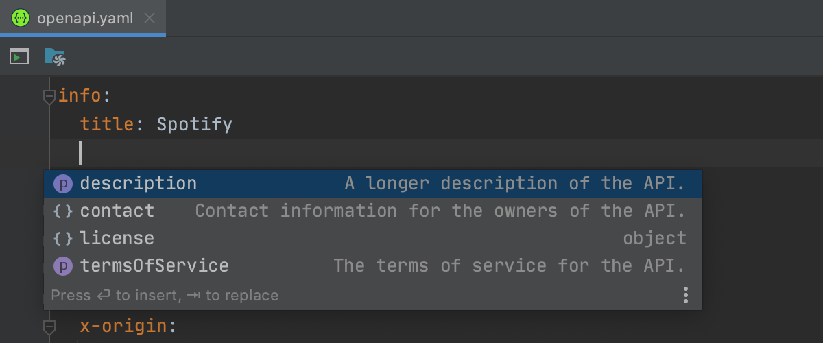 Completion suggestion for section names in OpenAPI file