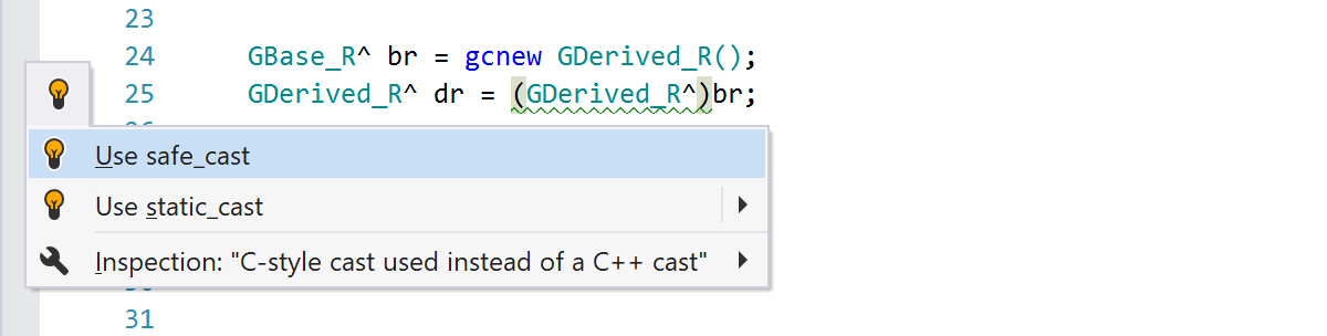 A quick-fix to convert a C-style cast to a safe_cast