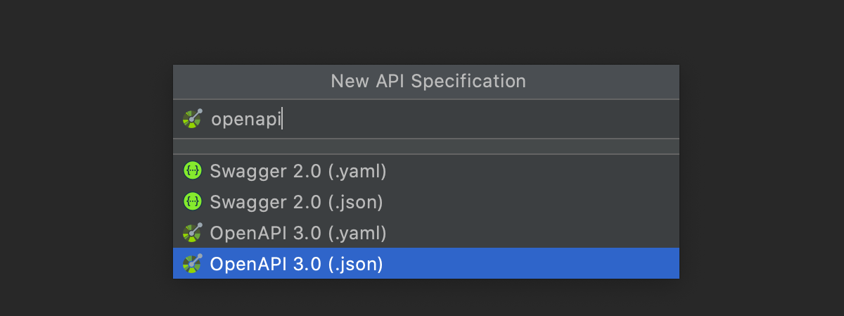 Adding a new OpenAPI specification file to the projects