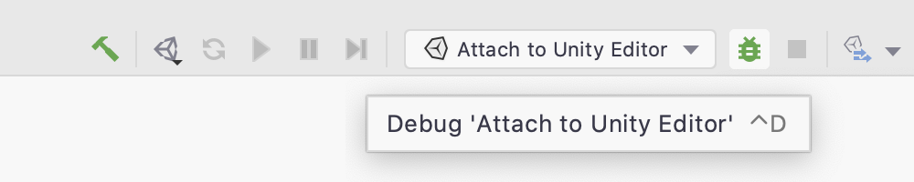 The Debug button on the main toolbar will attach to the editor and start debugging