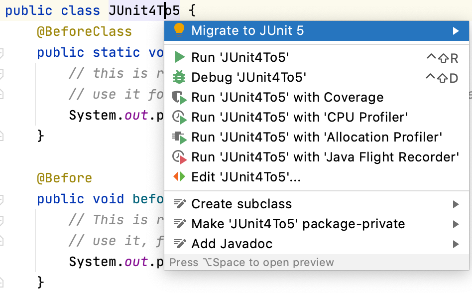 Migrate JUnit 4 to 5