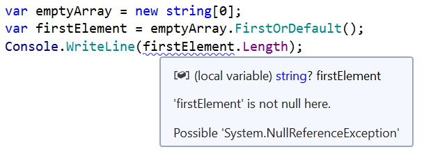 Fix incorrect nullability analysis for FirstOrDefault with JetBrains Annotations