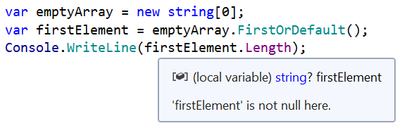 Incorrect nullability analysis for FirstOrDefault