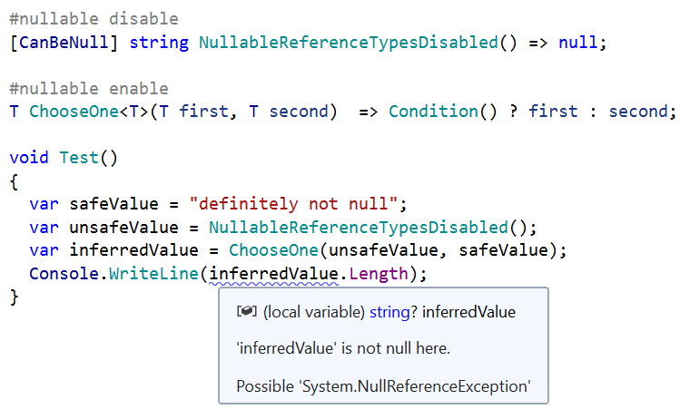 Nullability type inference