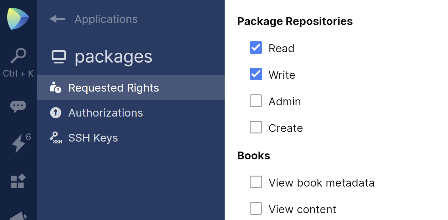 JetBrains Space. Package Repositories permissions