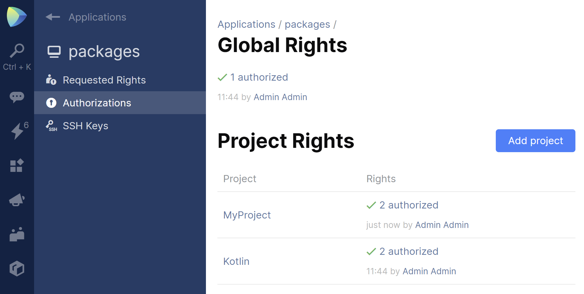 JetBrains Space. Project rights