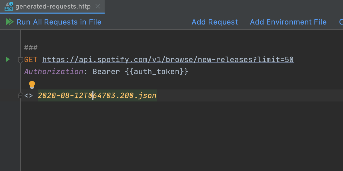 Testing REST API call using built-in HTTP client
