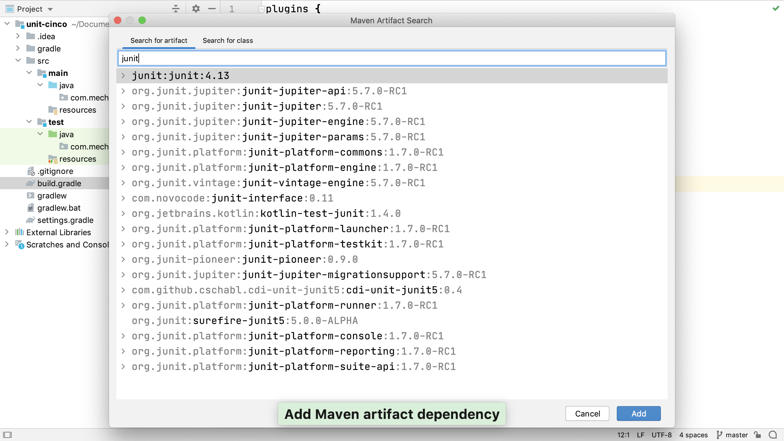 JUnit 5 dependencies