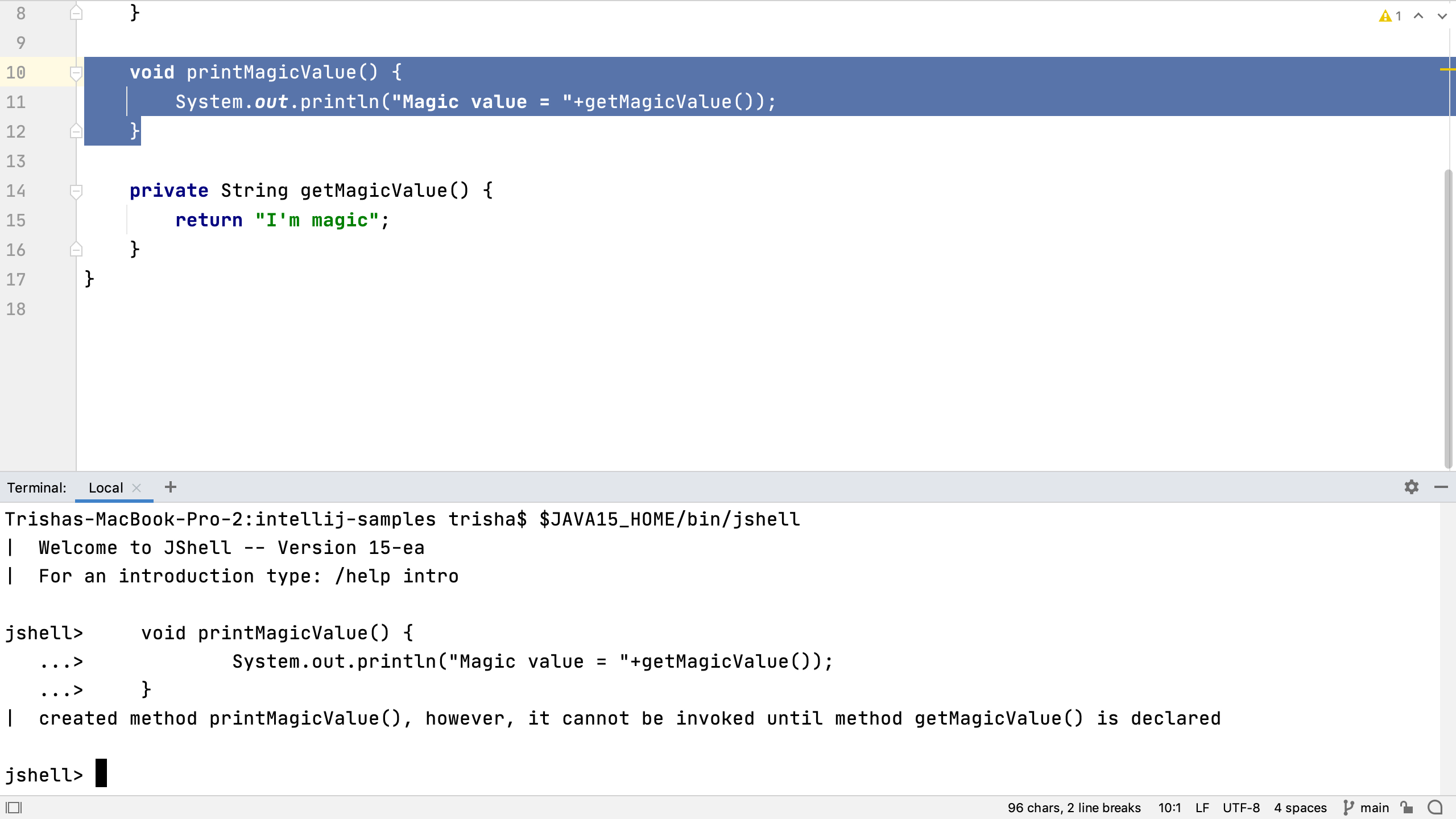 Pasting code