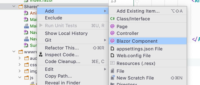 Create Blazor Component In Rider
