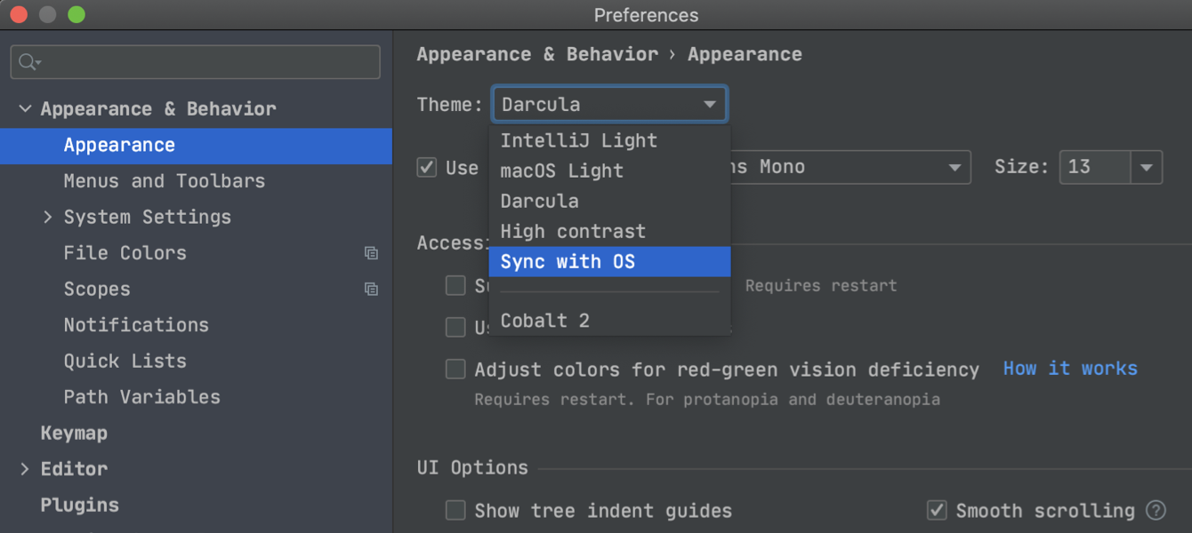 Sync IDE theme with the OS settings