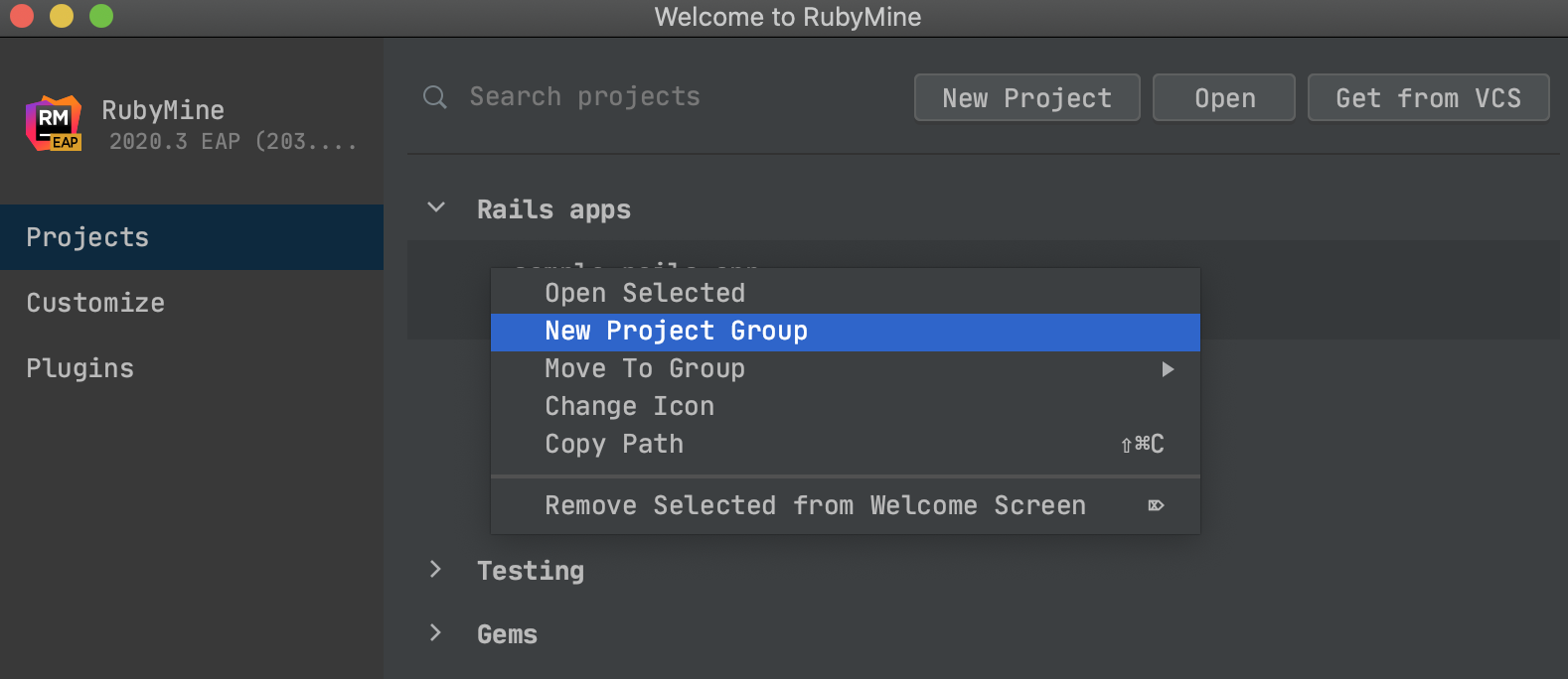 Create project groups