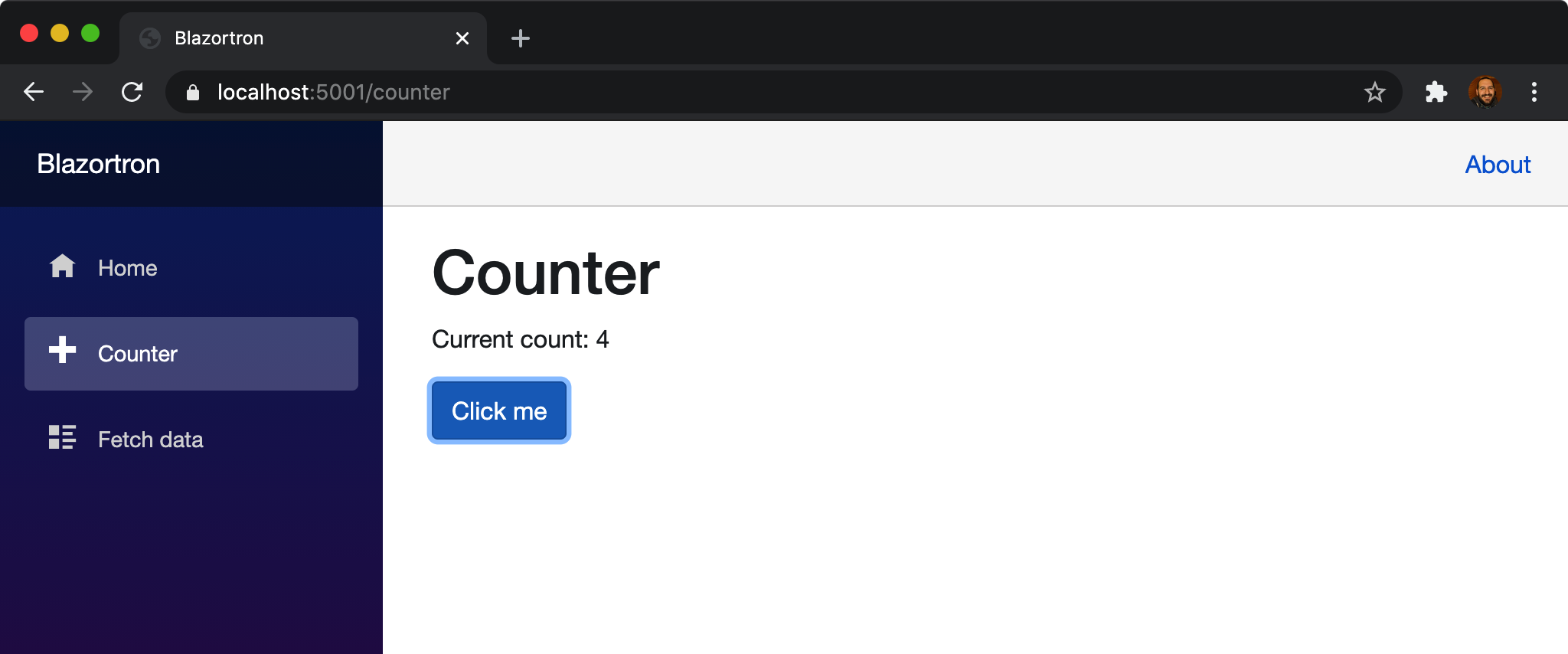 Blazor in browser count