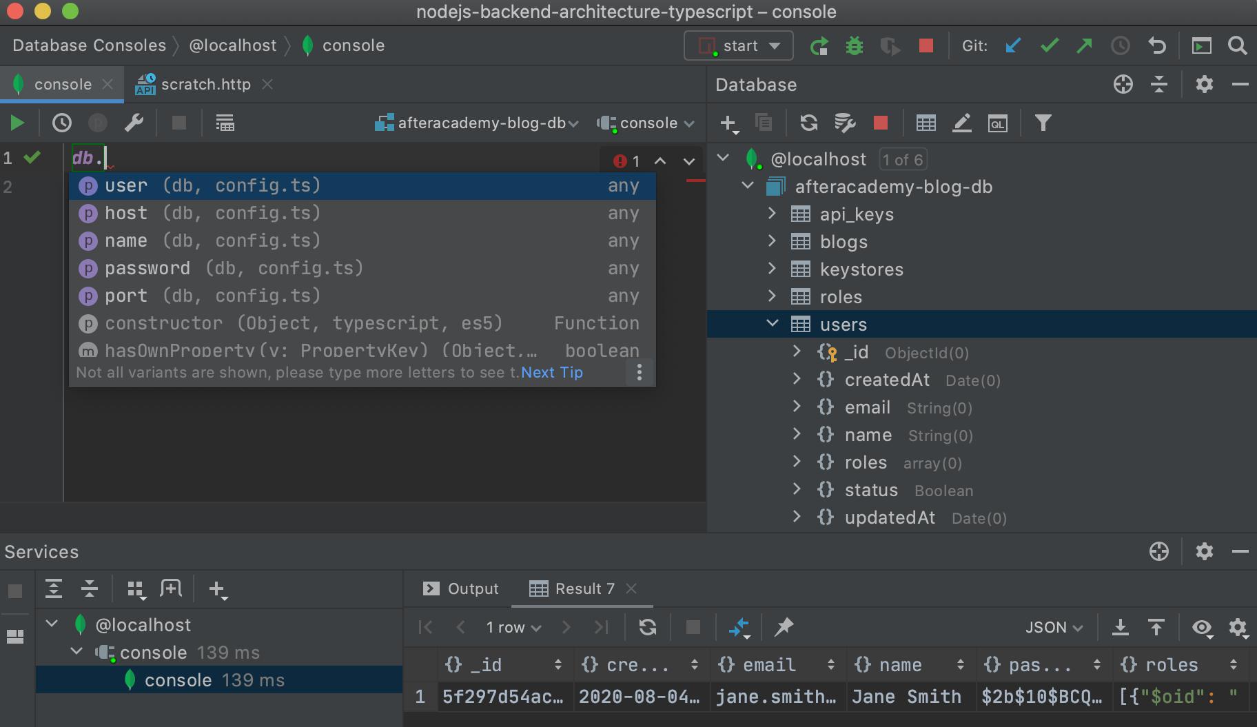 Database plugin pour WebStorm 2020.2