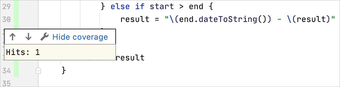 Code Coverage popup