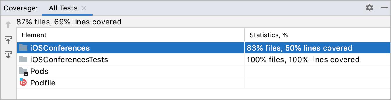 Code Coverage tool window