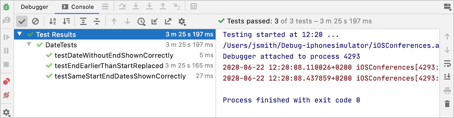 Successful test run