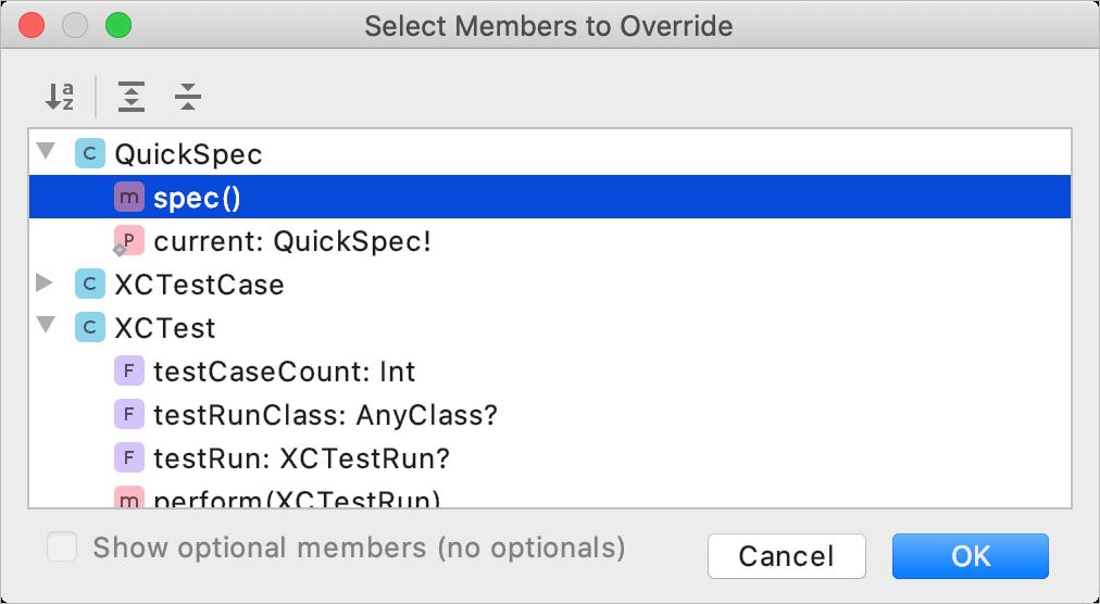 Override spec method