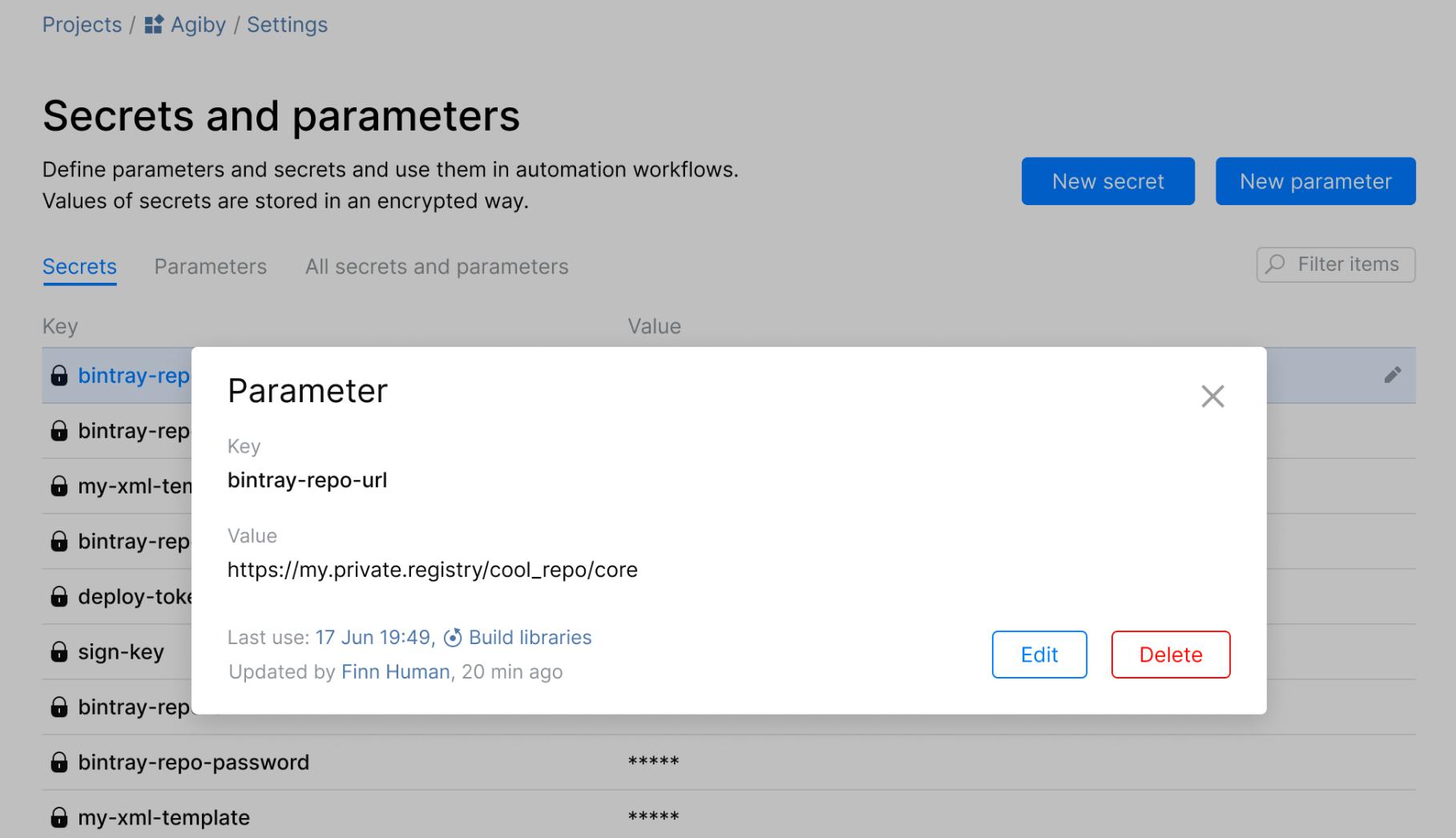 paramètre d'Automation