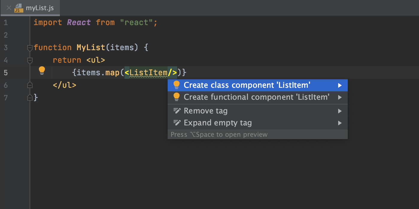 create-react-component-from-usage