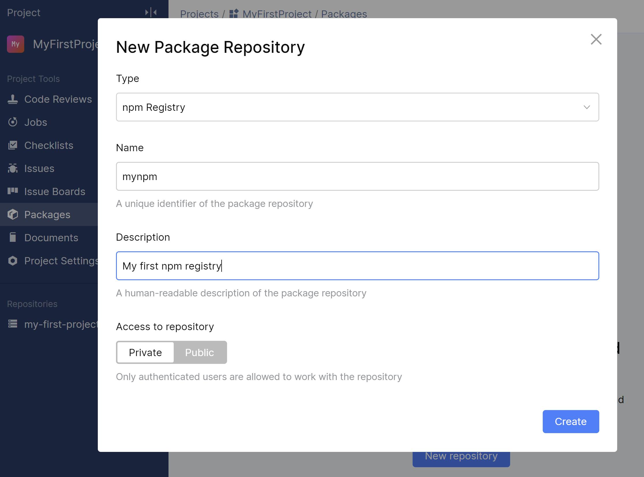 Create npm registry