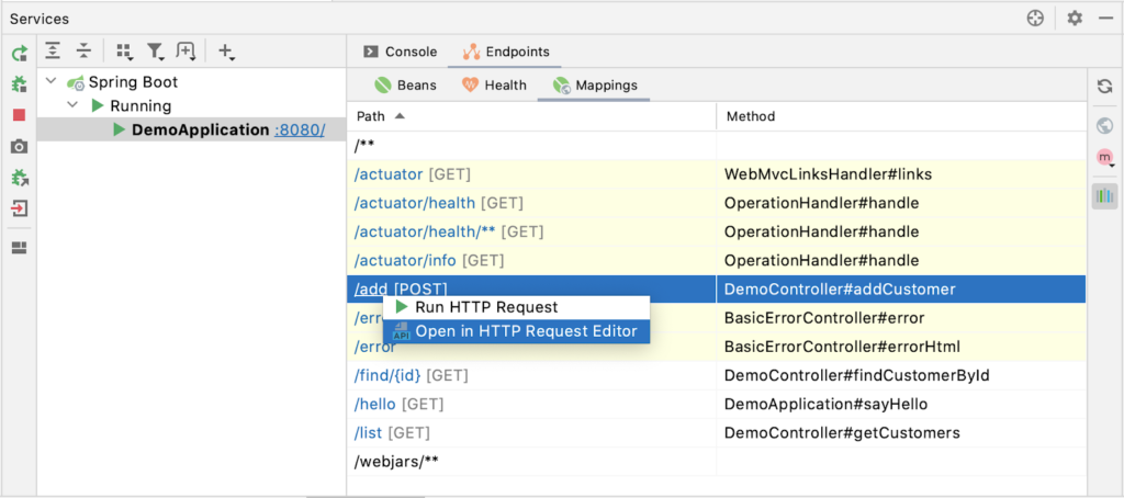 Generate HTTP request from the Mappings tab